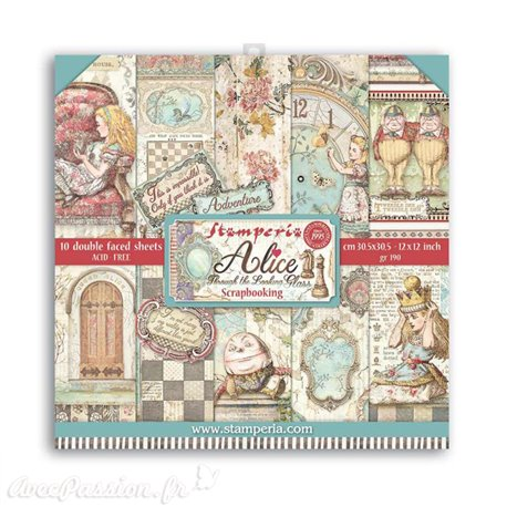 Papier scrapbooking Alice through the looking glass Stamperia 10f 30x30 assortiment