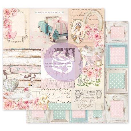 Papier scrapbooking Prima With Love All that I need avec dorure 30x30cm