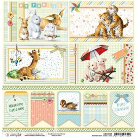 Feuille scrapbooking Ciao Bella My First Year Cards & Tags 30x30 double face