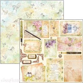 Feuille scrapbooking Ciao Bella Poemes d'Amour 30x30 double face