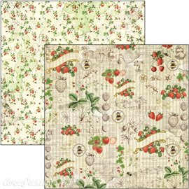 Feuille scrapbooking Ciao Bella Strawberries 30x30 double face