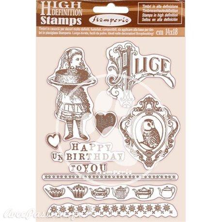 Tampon caoutchouc Happy Birthday Alice 14x18 Stamperia