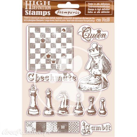 Tampon caoutchouc Alice checkmate 14x18 Stamperia