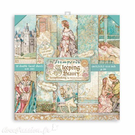 Papier scrapbooking Sleeping Beauty Stamperia 10f double face 15x15 assortiment