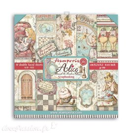 Papier scrapbooking Alice through the looking glass Stamperia 10f double face 15x15 assortiment