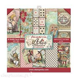 Papier scrapbooking Alice in Worderland Stamperia 10f double face 15x15 assortiment