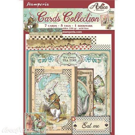 Collection Alice wonderland Stamperia 7 cartes 5 tag 1 signet 10x15cm