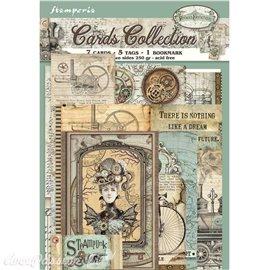 Collection Voyages fantastiques Stamperia 7 cartes 5 tag 1 signet 10x15cm