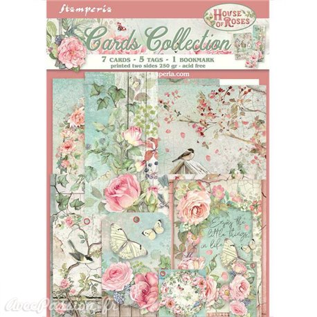 Collection House of Roses Stamperia 7 cartes 5 tag 1 signet 10x15cm