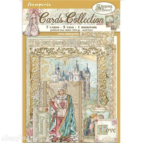 Collection Sleeping Beauty Stamperia 7 cartes 5 tag 1 signet 10x15cm