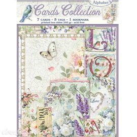 Collection Flower Alphabet Stamperia 7 cartes 5 tag 1 signet 10x15cm