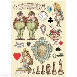 Chipboard bois Alice échiquier Stamperia silhouettes entaillées A5