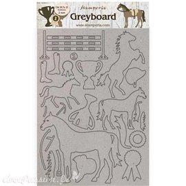 Chipboard carton Romantic Horses cheval trophée Stamperia A4