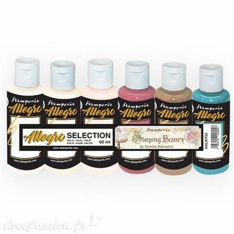 Peinture Kit 6 Allegro selection couleurs Sleeping Beauty  (KAL12-51-57-18-90-109) Stamperia