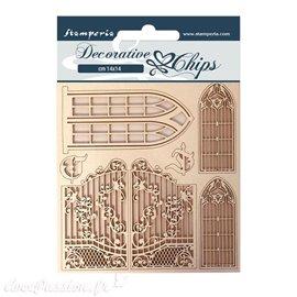 Chipboard carton Stamperia Sleeping Beauty fenetre et porte