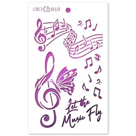 Pochoir scrapbooking Ciao Bella Let the Music Fly 12x20cm