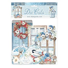 Die Cuts assortiment Winter Tales quotes and labels Stamperia