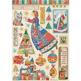 Papier de riz Christmas Patchwork elements Stamperia A4