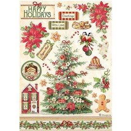 Papier de riz Classic Christmas arbre Stamperia A4