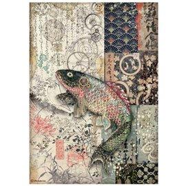 Papier de riz Vagabond in Japan poisson mécanique Stamperia A4