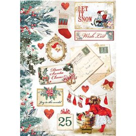 Papier de riz Romantic Christmas Let is snow cartes Stamperia A4