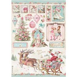 Papier de riz Pink Christmas traîneau Stamperia A4