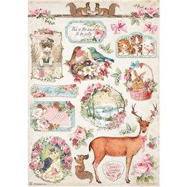 Papier de riz Pink Christmas cerf Stamperia A4
