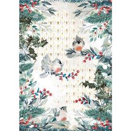 Papier de riz Romantic Christmas oiseaux Stamperia A4