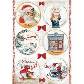 Papier de riz Romantic Christmas rondes Stamperia A4