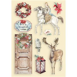Chipboard bois Winter Tales cheval et cerf Stamperia silhouettes entaillées A5