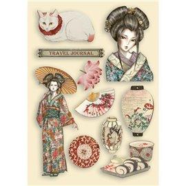 Chipboard bois Sir Vagabond in Japan dame Stamperia silhouettes entaillées A5