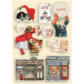 Chipboard bois Romantic Christmas Stamperia silhouettes entaillées A5