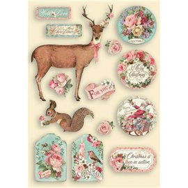 Chipboard bois Pink Christmas Stamperia silhouettes entaillées A5