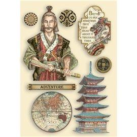 Chipboard bois Sir Vagabond in Japan samurai Stamperia silhouettes entaillées A5