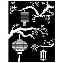 Pochoir décoratif Sir Vagabond in Japan lanternes 15x20cm Stamperia