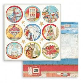 Papier Scrapbooking Christmas Patchwork rondes Stamperia 30x30cm double face