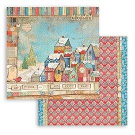 Papier Scrapbooking Christmas Patchwork maisons Stamperia 30x30cm double face