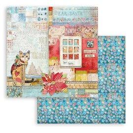 Papier Scrapbooking Christmas Patchwork chat Stamperia 30x30cm double face