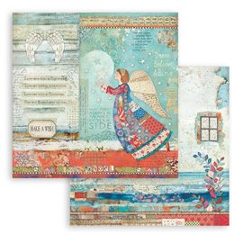 Papier Scrapbooking Christmas Patchwork anges Stamperia 30x30cm double face