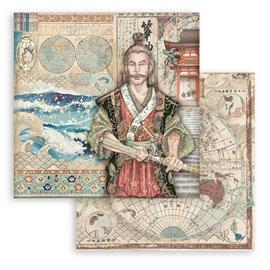 Papier Scrapbooking Sir Vagabond in Japan samurai Stamperia 30x30cm double face