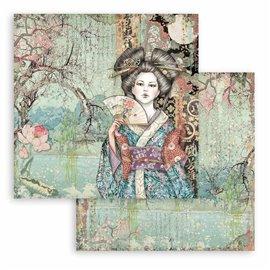 Papier Scrapbooking Sir Vagabond in Japan dame Stamperia 30x30cm double face