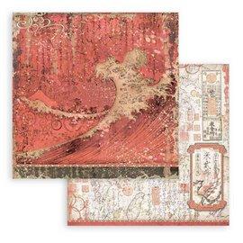 Papier Scrapbooking Sir Vagabond in Japan texture rouge Stamperia 30x30cm double face