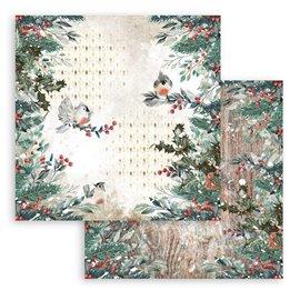 Papier Scrapbooking Romantic Christmas oiseaux Stamperia 30x30cm double face