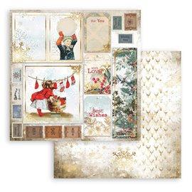 Papier Scrapbooking Romantic Christmas cartes Stamperia 30x30cm double face