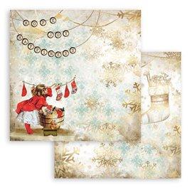 Papier Scrapbooking Romantic Christmas chaussettes Stamperia 30x30cm double face