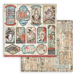 Papier Scrapbooking Sir Vagabond in Japan tags Stamperia 30x30cm double face