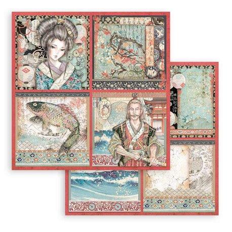 Papier Scrapbooking Sir Vagabond in Japan 4 cartes Stamperia 30x30cm double face