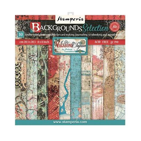 Papier scrapbooking Collection de fonds Sir Vagabond in Japan Stamperia 20x20 Bloc 10fe
