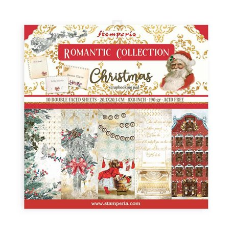 Papier scrapbooking Romantic Christmas Stamperia 20x20 Bloc 10fe