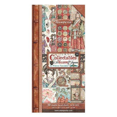 Papier scrapbooking Collectables Sir Vagabond in Japan Stamperia 10f 15x30 recto verso